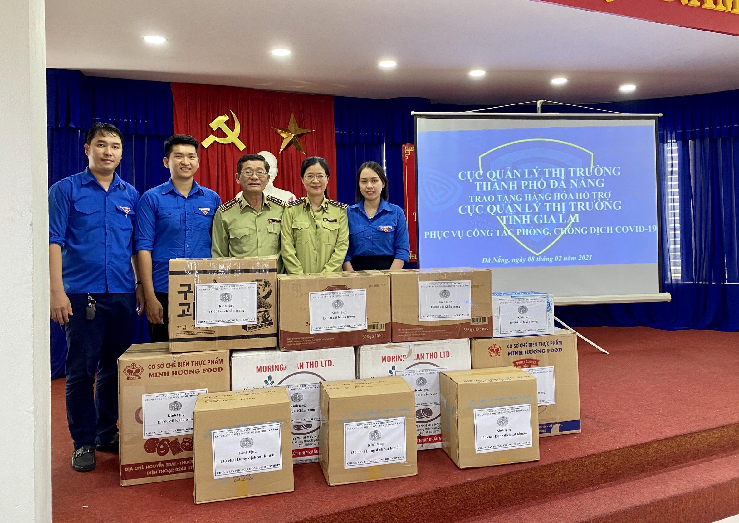 Cục Quản lý thị trường thành phố Đà Nẵng trao tặng Cục Quản lý thị trường tỉnh Gia Lai hàng hóa hỗ trợ công tác phòng, chống dịch Covid-19